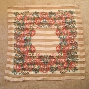 Accessories - Floral and Stripe Semi Sheer Scarf
